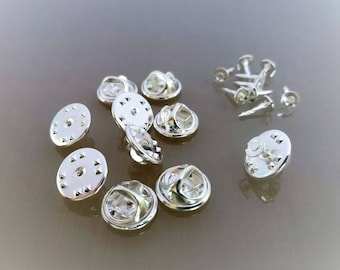 20 supports metal pins light silver color