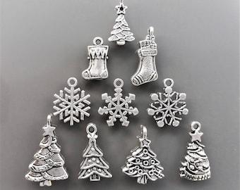 10 charms christmas metal color silver