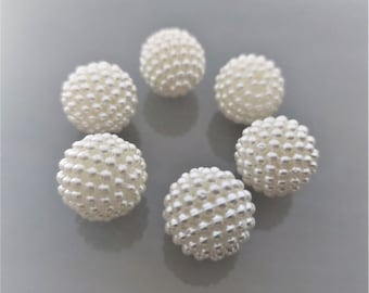 6 large round beads 20 mm in unbleached acrylic