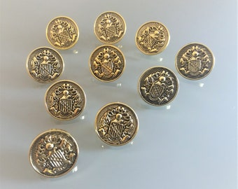 10 buttons coats of arms 15 mm of golden color