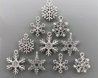 10 charms snowflakes Christmas metal color silver