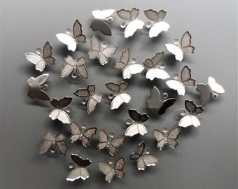 25 silver color metal butterfly charms 10 mm