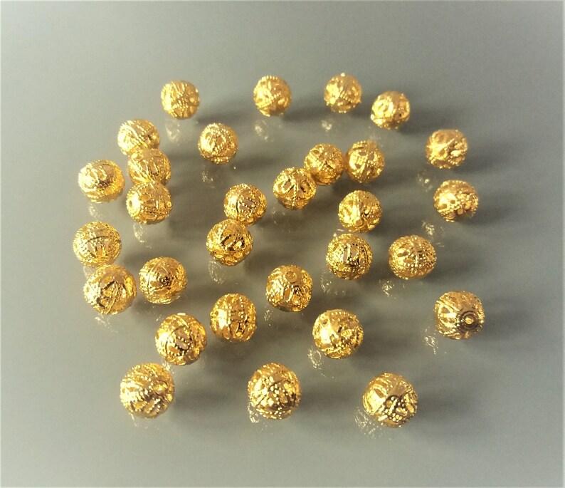 30 filigree beads 8 mm golden color