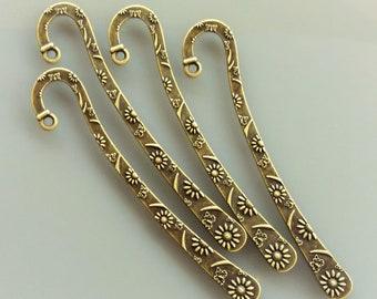 4 engraved bookmarks 8 cm metal color bronze