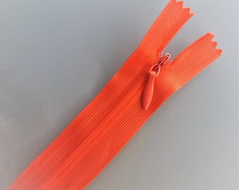 2 invisible zips 25 cm Red