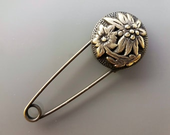 Brooch 7,5 cm bronze color flower decoration