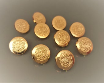 10 buttons pattern coat of arms 15 mm of golden color