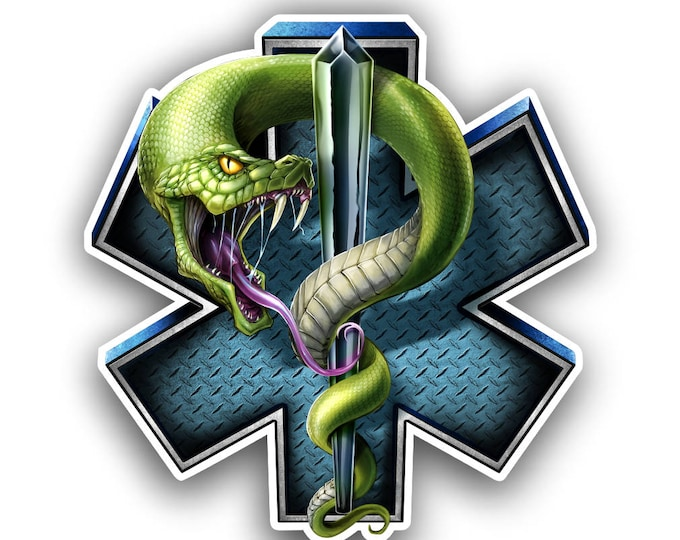 EMS emergency medical services star of life with snake  decal/sticker  ***Free Shipping***