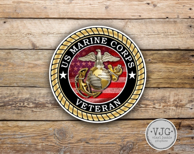 US Marine Corps Veteran Sticker for Cars Trucks for Honor and Support of Our Troops Vinyl Window Bumper 4 inch …