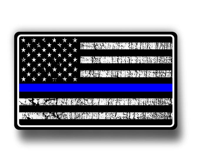 Police Thin Blue Line American Flag Decal/Sticker  **Free Shipping**