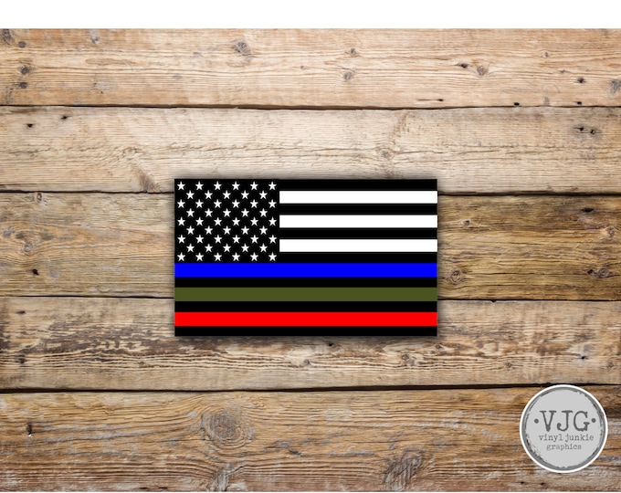 Police Military and Fire Thin Line USA Flag Decal American Flag Sticker Blue Green and Red stripe  honor and support Various Sizes