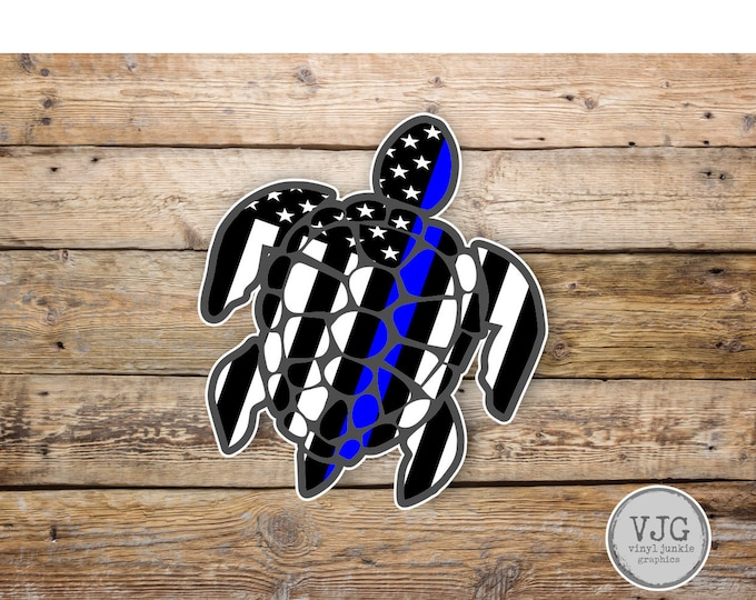 Thin Blue Line USA American Flag Sea Turtle Sticker for cars trucks for honoring and support of our brave police law enforcement officers