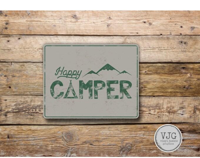 Happy Camper  Vinyl Sticker Decal Bumper Sticker for Auto Cars Trucks Windshield Windows Laptop Camper Kayak