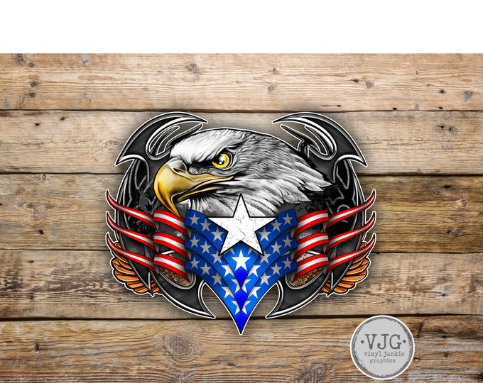 Tribal Eagle American Flag Sticker  for car truck laptop or any smooth surface  ***Free Shipping***