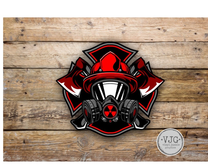 Fireman With Gas Mask Support your fire dept sticker / decal **Free Shipping**