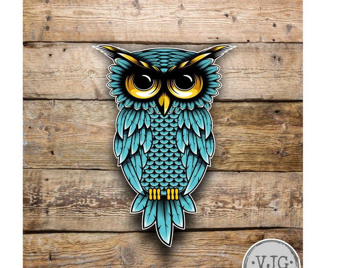 Teal Owl Sticker Decal for Laptops Car Windows Trucks any smooth surface
