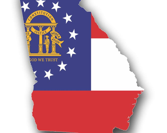 Georgia State Flag Ouline Car Truck Bumper Custom Print Sticker Vinyl Decal Graphic  FREE SHIPPING