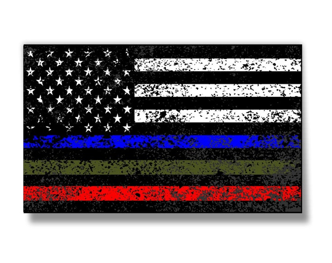 Police Military and Fire Thin Line USA Flag Distressed Decal American Flag Sticker Blue Green and Red stripe for cars truck toolbox