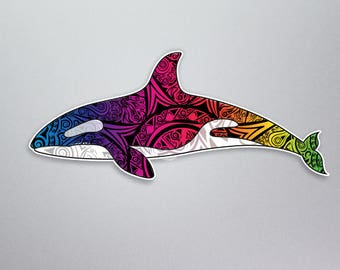 10e038995 Orca Whale Decal Vinyl Sticker Killer whale tribal tie dye rainbow colored  for car truck window laptop computers bumper sticker 7