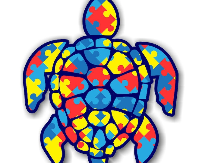 """Autism Sea Turtle 3""""  sticker for cell phones, cars, trucks laptops  stick to any smooth surface"""