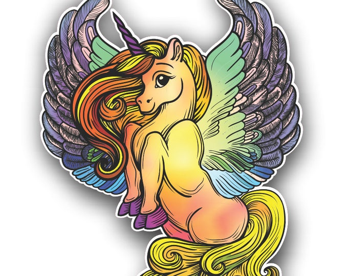 Unicorn Sticker Multi Color Wings  for car truck laptop or any smooth surface  ***Free Shipping***
