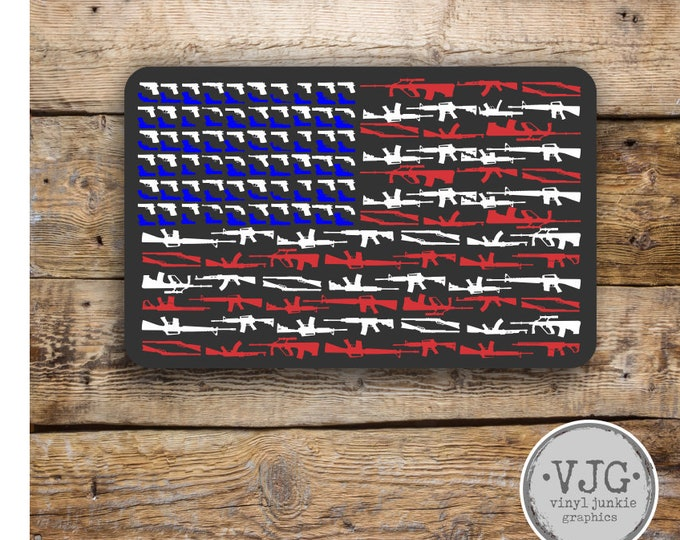 Gun USA American Flag Sticker honor and support Various Sizes