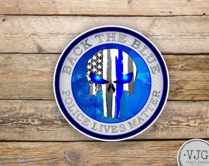 Back the Blue Line Punisher American Flag Sticker for cars trucks for honor and support of our officers Vinyl Window Bumper Decal 4 inch
