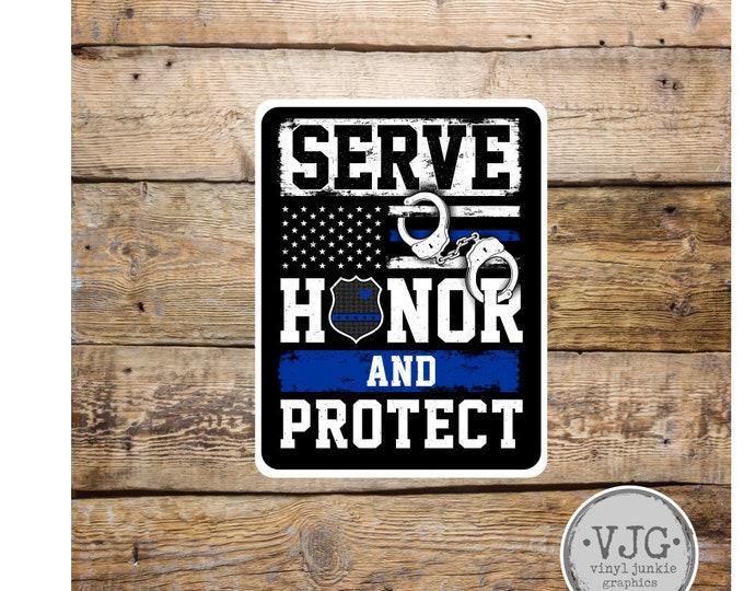 Police Blue Line Serve Honor and Protect Sticker for cars trucks for honoring and support of our brave police law enforcement officers