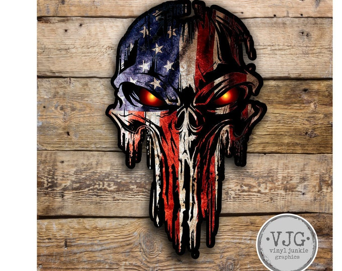 Military Grunge Skull Patriotic American Flag / decal **Free Shipping**