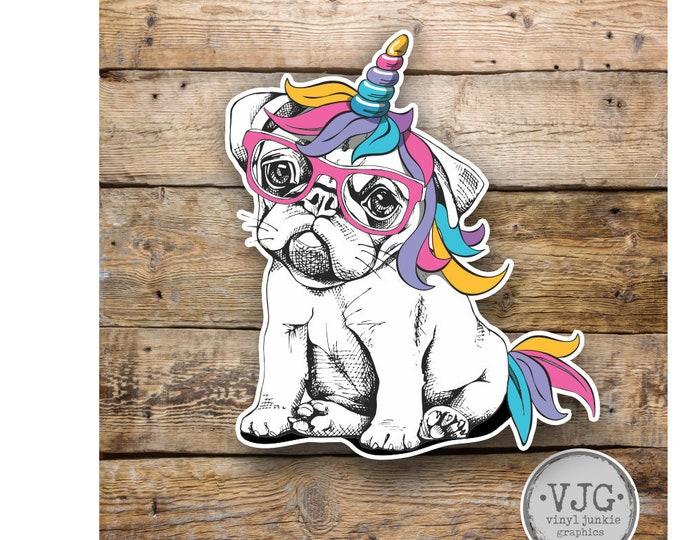Bulldog Puppy Unicorn Sticker  Various Sizes