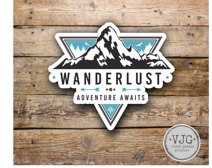 Wanderlust Adventure Awaits Sticker Decal Bumper Sticker for Auto Cars Trucks Windshield Windows Laptop RV Camper