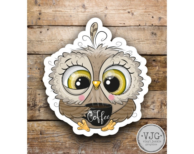Owl w Coffee Sticker Decal for Laptops Car Windows Trucks any smooth surface