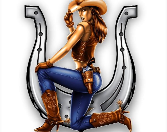 Horseshoe and Cowgirl Sticker