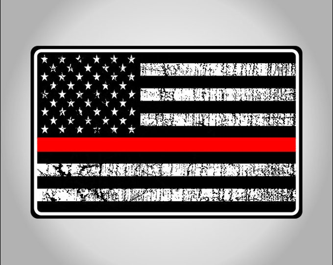 Fire Dept Support Red Line American Flag Decal/Sticker **Free Shipping**