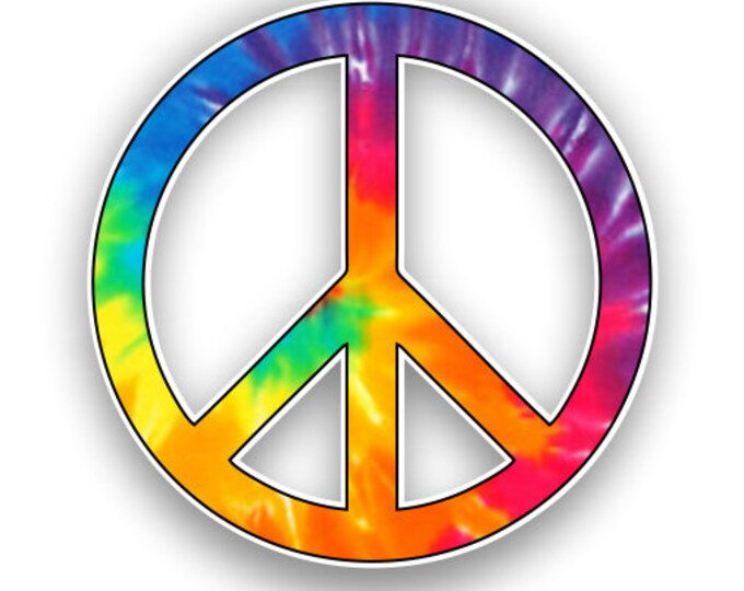 Peace Sign Rainbow Tie Dye Print Sticker Car Motorcycle Bicycle Skateboard Laptop Luggage Decals Bumper Stickers Waterproof
