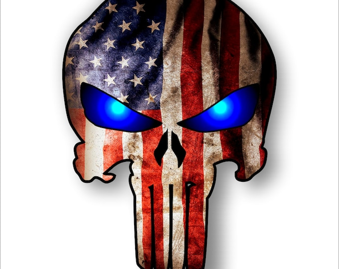 Blue eyed Punisher with American Flag  sticker / decal **Free Shipping**