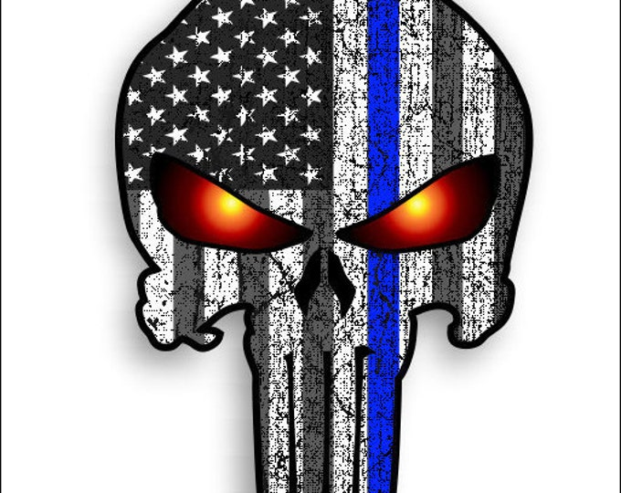 Thin Blue line Punisher Skull with  American Flag and Glowing Eyes sticker / decal police support **Free Shipping** yeti rtic tumblers