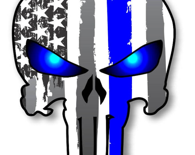 "Punisher Skull Police Blue Line US Flag Vinyl Decal American Flag Window Sticker for honor and support of our officers back the blue 5"" tall"