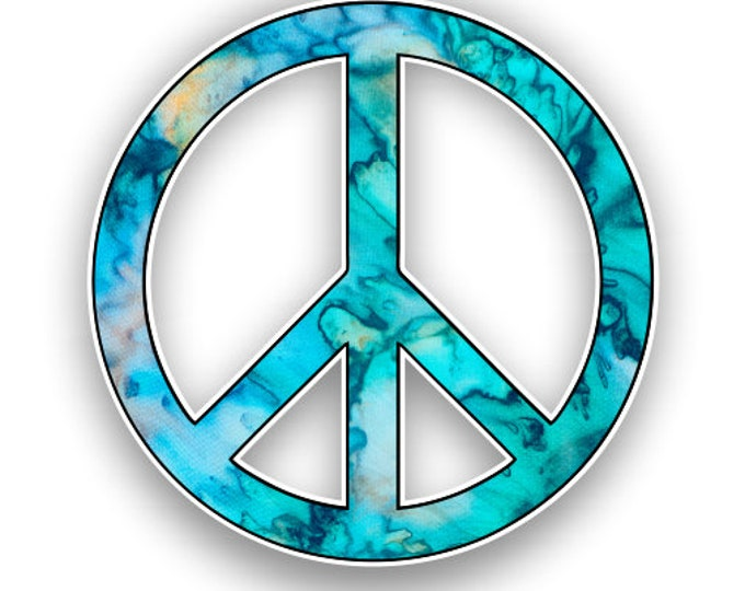 Peace Sign Cyan Dream Tie Dye Pattern  Sticker Car Motorcycle Bicycle Skateboard Laptop Luggage Decals Bumper Stickers Waterproof