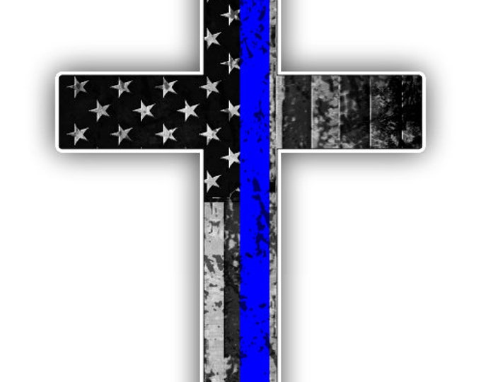 Thin Blue line Police Support Cross sticker