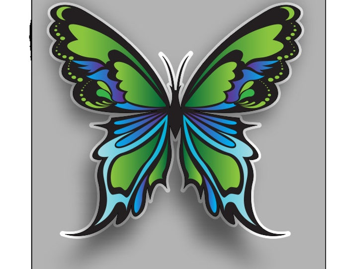 Beautiful Butterfly greens & blues sticker / decal **Free Shipping**