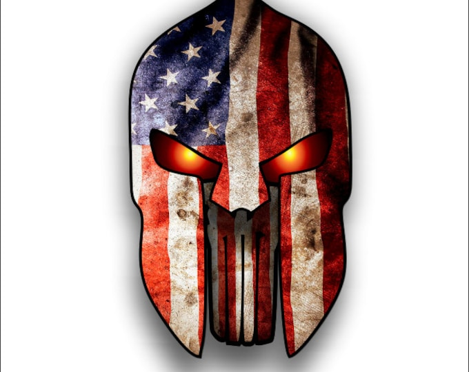 Spartan Helmet Punisher with American Flag sticker / decal **Free Shipping**