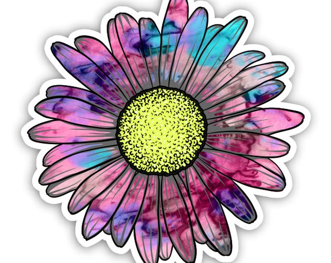 Daisy Flower Cotton Candy Tie Dye Sticker Car Motorcycle Bicycle Skateboard Laptop Luggage Decals Bumper Stickers Waterproof