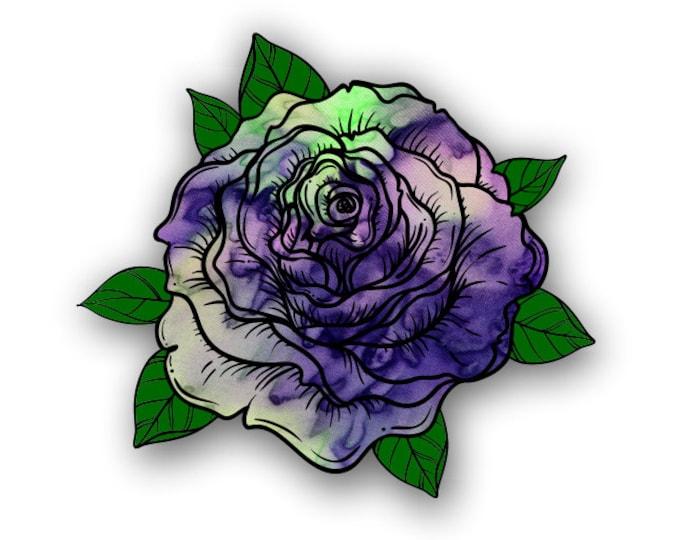 Purple Haze Tie Dye Pattern Rose sticker / decal**Free Shipping**