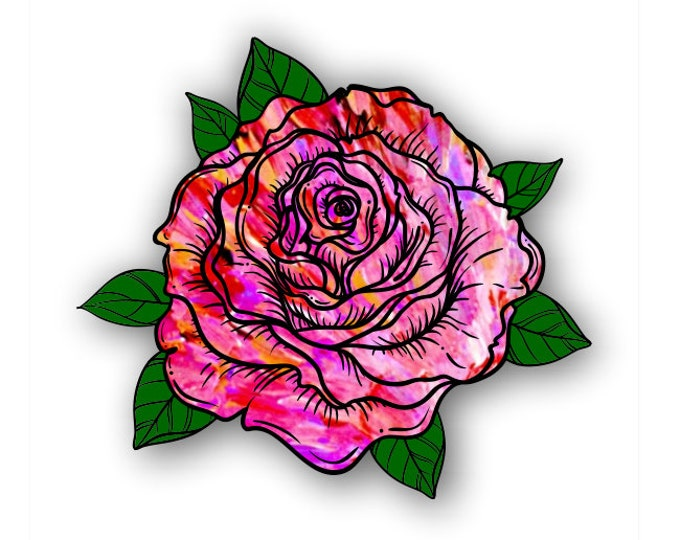 Red-Pink Tie Dye Pattern  Rose sticker / decal**Free Shipping**