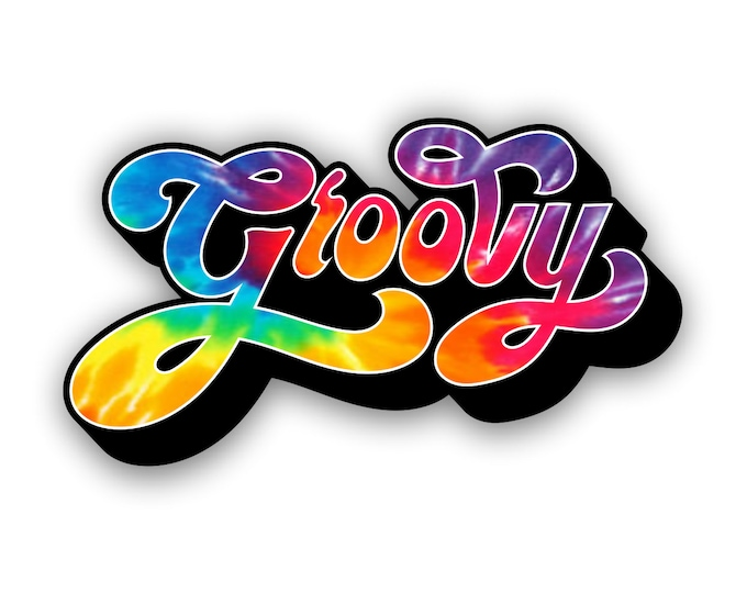 Groovy Rainbow Tie Dye Sticker for car truck laptop Hydro flask bottle or any smooth surface
