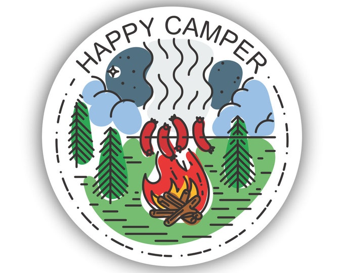 Happy Camper Sticker for car truck laptop Hydro flask bottle or any smooth surface