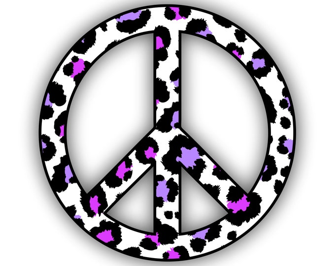 Peace Sign Purple Pink Leopard Print Sticker Car Motorcycle Bicycle Skateboard Laptop Luggage Decals Bumper Stickers Waterproof