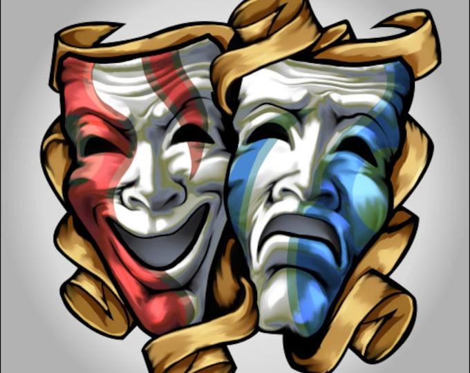 Cool Drama Masks decal  sticker *** Free Shipping****