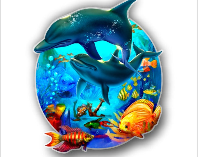 Dolphins with Tropical Fish sticker / decal **Free Shipping**